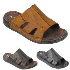 492f4623152e Mens Black Brown Leather Sandals Walking Open Toe Mules Slippers Size 6 7 8  9 10