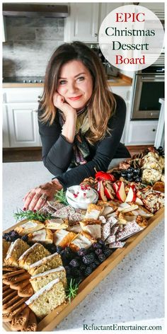 EPIC Christmas Dessert Board is a beautiful and impressive dessert option for yo. - EPIC Christmas Dessert Board is a beautiful and impressive dessert option for your next holiday par - Charcuterie Recipes, Charcuterie And Cheese Board, Charcuterie Platter, Christmas Desserts, Christmas Baking, Christmas Catering, Dessert Recipes, Christmas Christmas, Charcuterie Board