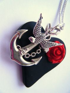 Sweet Heart Tattoo Rockabilly Necklace Swallow Anchor Black Heart Poppy Red Rose. $23.00, via Etsy.