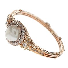 Victorian Natural Pearl, Diamond & Gold Hand Engraved Bracelet. Fourtane.