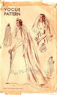 Vogue 6462 Vintage 1950s Bridal Veil Coronet and by DejaVuPatterns, $34.99