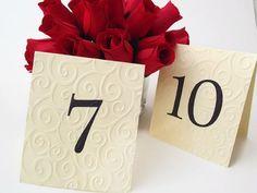 Embossed Wedding Table Numbers.