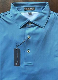 NEW Peter Millar E4 Summer Comfort Blue Textured Design Golf Polo Shirt Size M  | eBay #golfpolo