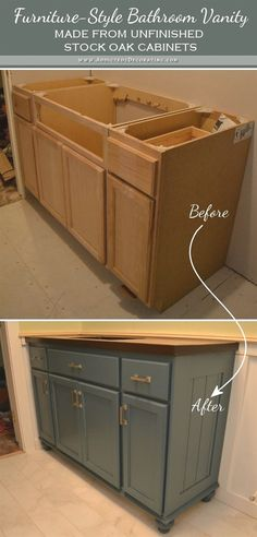 Teal Furniture-Style Vanity Made From Stock Cabinets - Finished! - Addicted 2 Decorating® - Teal Furniture-Style Vanity Made From Stock Cabinets – Finished! – Addicted 2 Decorating® bathroom vanity before and after Teal Furniture, Furniture Styles, Kitchen Furniture, Furniture Ideas, Furniture Companies, Sofa Ideas, Furniture Dolly, Furniture Storage, Furniture Online