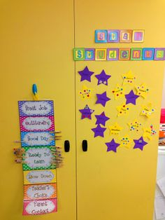 At the end of the day, if students names are on blue they earn one sticker, pink they earn two, and if they made it to purple they get three stickers! The stickers go onto their stars. When they earn 10 stickers, then they earn treasure box.