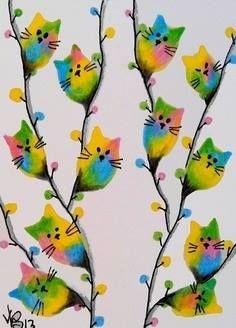 Cat Crafts, Crafts For Kids, Arts And Crafts, Cat Colors, Cat Drawing, Cat Art, Crazy Cats, Doodle Art, Art Lessons