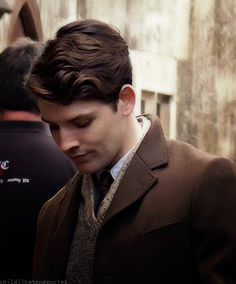 Colin Morgan on the set of Testament of Youth