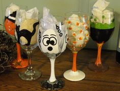 Halloween Fall Autum - Pumpkin, Black Cat, Ghost, Candy Corn, Witchs Brew- Hand Painted Wine Glasses - Large Glasses 20 oz
