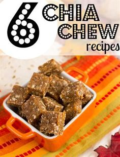 6 Chia Chew Energy Bites Recipes. Talk about running / marathon fuel…these little seeds retain tons of water, so they're the perfect base for a rehydrating formula. Recipes include Apricot Ginger Chia Chews, Pina Colada Energy Chews, Carob Strawberry Chia Energy Bars, Lemony Energy Bites, Raw Chia Oat Energy Bars, and Berry Lavender Chia Chews. Run on!