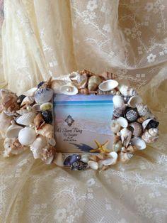 SOLD Seashelled mosaic fish frame $23.99
