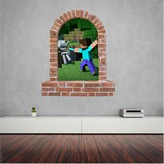 Minecraft brick window wall sticker and decals. Minecraft Brick, Wall Stickers, Decals, Window Wall, Dexter, Kids Room, Windows, Wall Clings, Ramen