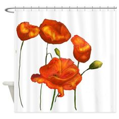 Poppies (orange) Shower Curtain on CafePress.com