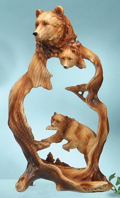 Bear Wood Style Carving Sculpture                                                                                                                                                      More