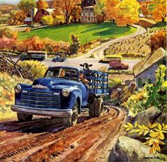 From the through the Helck was very successful as a magazine illustrator and advertising artist. His commissions frequently were of industrial scenes, or featured cars, trucks and locomotives. Vintage Pickup Trucks, Classic Chevy Trucks, Old Trucks, Dump Trucks, Dodge Trucks, Vintage Illustration Art, Car Illustration, Country Art, Vintage Country