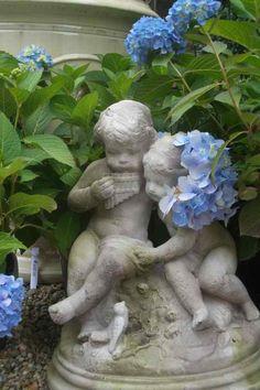 Garden statuary and hydrangeas