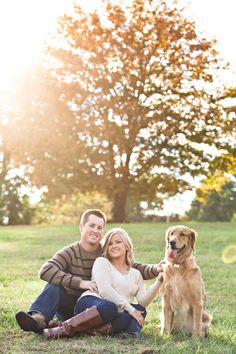 Fall engagement session with Golden Retriever by JoPhoto