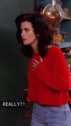 monica geller - I can't explain why, but she is BEAUTIFUL in this picture, the dark messy hair, red shirt and lipstick = stunning
