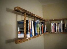 Upcycle an old ladder into a corner bookshelf.