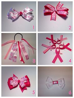 Show your support, order your breast cancer ribbon today. 100% of profits will be donated to Brest cancer research. Inbox me for your order. $2 for bows #3 & #4. $5 for #1,2,5 & 6. The price includes shipping.