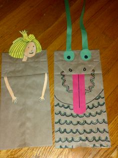 Paper Bag Princess, paper bag puppets.  I got the templates for the puppets here http://www.3garnets2sapphires.com/2009/01/mamalicious-monday-easy-dragon-puppet.html http://www.myactivitymaker.com/files/PaperBagPrincess.pdf