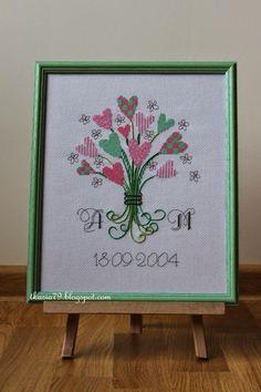 Gather hearts, Wedding Anniversary, cross stitch