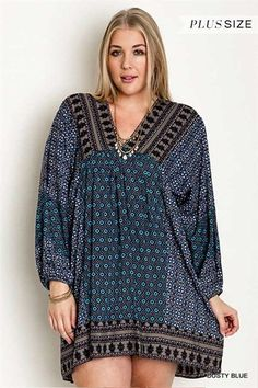 Boho V Neck Plus Size Peasant Dress, Dusty Blue