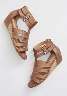 Every step taken in these wedge sandals from Report Footwear is guaranteed to catch eyes and turn heads. In addition to brown uppers with a faux-nubuck. Low Wedge Sandals, Wedge Shoes, Shoes Sandals, Cute Wedges, Low Wedges, Studded Heels, Prom Shoes, Buy Shoes, Water Shoes