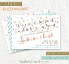 Beach Bachelorette Invitation - Beachy Bachelorette Weekend Trip Party - Lingerie Shower - Coral Mint Teal - Custom, Printable, Digital File...