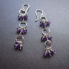 Trio Dangle Earrings - Amethyst - Sterling silver handmade wire wrapped, gemstones
