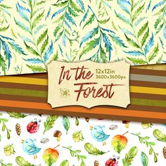 This Digital Designer Papers of In the forest collection is just what you needed for the perfect invitations, craft projects, paper products, party decorations, printable, greetings cards, posters, stationery, scrapbooking, stickers, t-shirts, baby clothes, web designs and much more.  :::::: DETAILS ::::::  This set includes : - 10 Digital Papers in separate JPG files  size: 12x12in, 30x30cm, 3600x3600px 300 dpi RGB  The whole In the forest collection https://www.etsy.com/shop...