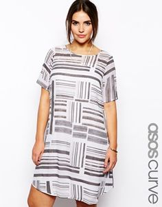 ASOS CURVE Exclusive Swing Dress In Blocked Stripe Print