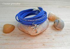 Bracelet manchette exotique suédine bleu : Bracelet par couleur-grenadine33