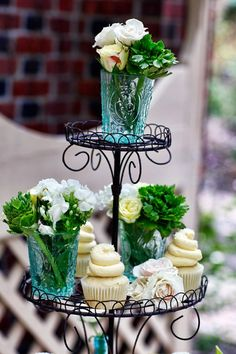 Cupcakes and Flowers in Blue Depression Glass