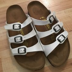 Birkenstock White Pearl Women's Sandals 39 US 8 Birkenstock White Pearl Triple Buckle Women's Sandals Shoes Size 39 US 8 they have a slight pearl to them. They are like worn once and in excellent condition. . Birkenstock Shoes Sandals