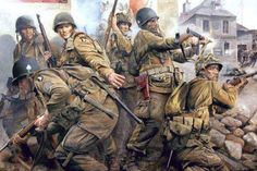 'Easy Company' - The Taking of Carentan. Carentan making the Easy Company, Parachute Regiment, Airborne Division, Normandy Military Photos, Military Art, Military History, Military Diorama, Army Drawing, Ddr Museum, Ww2 Pictures, Action Pictures, Military Drawings