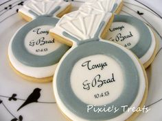 Engagement ring cookies, goes great as additions to wedding invitations