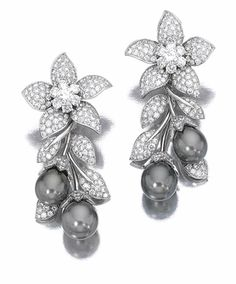 Cultured Pearl & Diamond Ear Clips 'Orchis', Van Cleef & Arpels