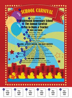 School Carnival Flyer printed in color with space for five custom images. Carnival Food, School Carnival, Carnival Themes, Halloween Carnival, Carnival Diy, Fundraising Games, School Fair, Spring Carnival, Family Fun Night