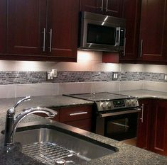 Stainless Steel Tile-Thin Stainless Brick Mosaic - Silver And Black I like the under lighting Backsplash With Dark Cabinets, Dark Kitchen Cabinets, Rustic Cabinets, Kitchen Countertops, Kitchen Backsplash Peel And Stick, Display Cabinets, Shaker Kitchen, Island Kitchen, Kitchen Sinks