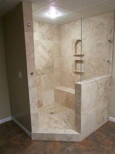 Corner Shower With Half Wall