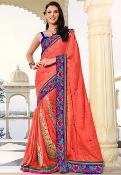 Peach Jacquard #Chiffon #Saree with Blouse http://www.shopcost.in/saree