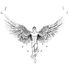 A great tattoo design of a man angel. Style: Sketch. Color: Black. Tags: Beautiful, Great