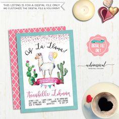 "Birthday Party Invitation ""Ooh La Llama"" (Printable File Only) Watercolor Llama Cactus Cacti Fun Birthday Invite Banner Bunting Teal Pink"
