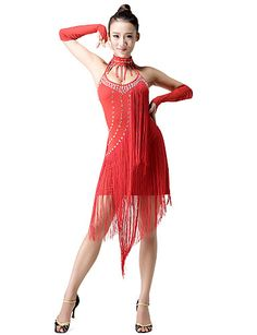 Performance Dancewear Polyester With Tassels Rhinestone Latin Dance Dress Build In Bra For Ladies(More Colors) - USD $ 49.69