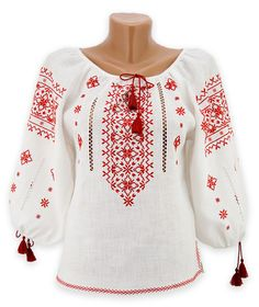 White three-quarters sleeved linen embroidery with magnificent pattern Palestinian Embroidery, Hungarian Embroidery, Hand Embroidery Designs, Embroidery Patterns, Embroidered Clothes, Chain Stitch, Simple Dresses, Cross Stitch Embroidery, Blouse Designs