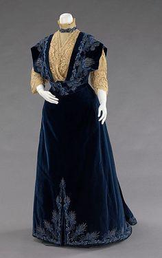 Ephemeral EleganceEmbroidered Velvet Evening Dress, ca. 1898