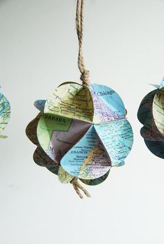 Upcycled Atlas Ornament - Recycled Vintage Maps - Custom Orders Welcome - Personalized