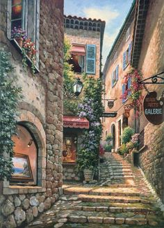 Town Painting by Sung Kim 01 A (Gallery Step Italian Street) . Buy any Canvas Art Print,Framed Art,Poster and Photo Print at Great Prices, Retail and Wholesale Satisfaction Manufacturer and Supplier.