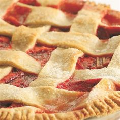Rhubarb and strawberries go hand in hand, and what better way to honor the combination than in this classic summer pie. The lattice top looks fancy but the technique is super-easy to master.