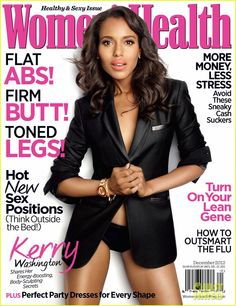 Kerry Washington Covers 'Women's Health' December 2012  LOVE her lips! The info says it is the new Clinique Heftiest Hibiscus Chubby Stick~beautiful!